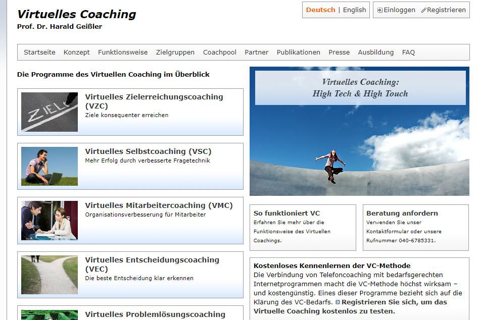 Bild zeigt den Auschnitt einer Homepage mit virtuellem Coaching